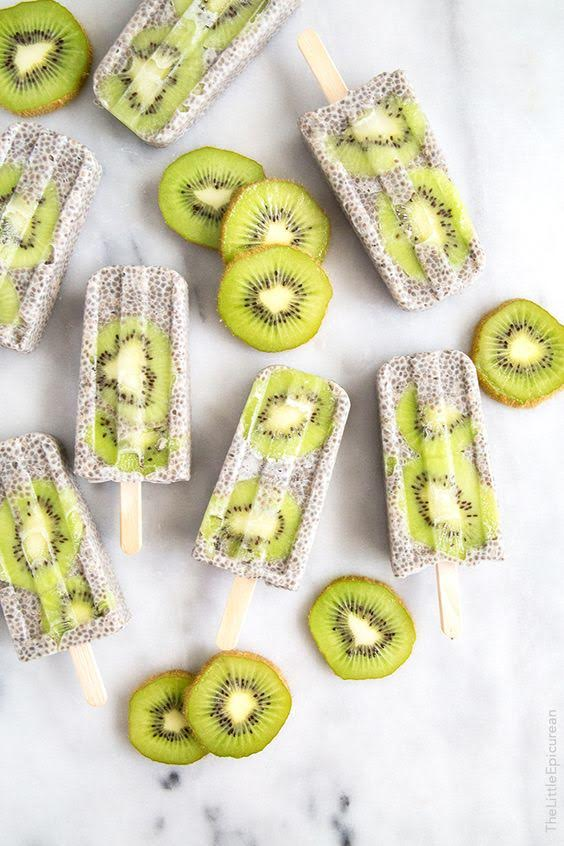 Kiwi Coconut Chia Popsicle